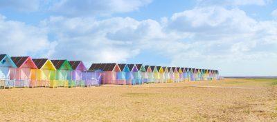 beach huts in essex rural uk