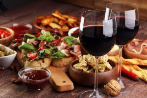 wine and antipasti